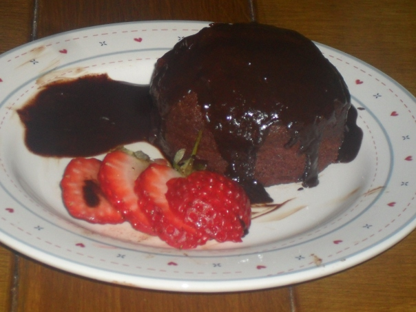 Mini Chocolate Cake with Chocolate and Orange sauce