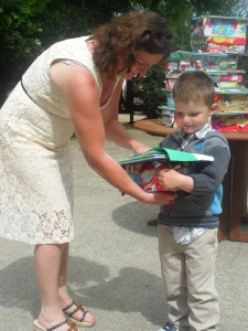 Cathal getting his gift from Annarose