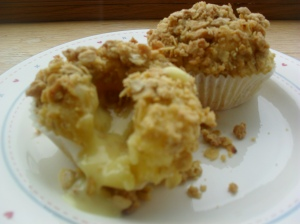 Allergy free rhubarb and custard crumble topped muffin