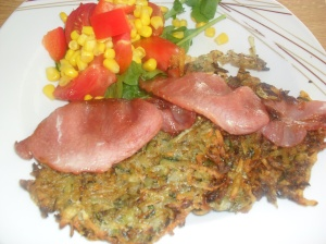 Rosti with Bacon and Salad