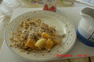 Apple and Mango with Coconut crumble